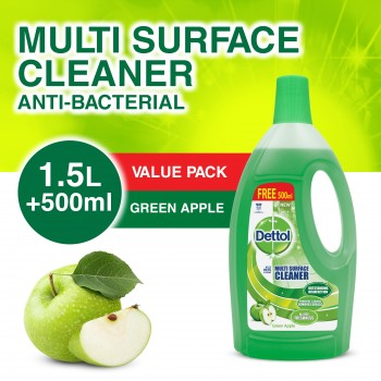 Dettol Multi Action Cleaner 1.5L+FOC 500ml (Green Apple)