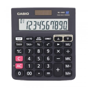 Casio Desktop Calculator - 10 Digits, Solar & Battery, Tax Calculation, 150 Steps Check (MJ-100D)