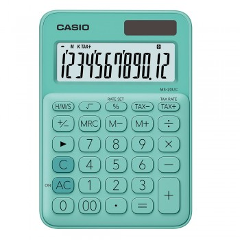 Casio Colourful Calculator - 12 Digits, Solar & Battery, Tax & Time Calculation, Green (MS-20UC-GR)