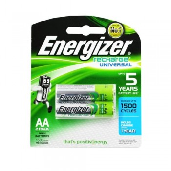 Energizer Universal NiMH AA Rechargeable Batteries - 2-count - 1500 mAh - 1500 Cycles (Item No:B06-11) A1R2B224