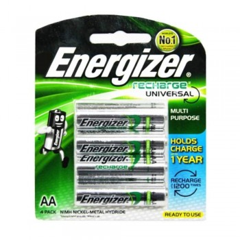Energizer Universal NiMH AA Rechargeable Batteries - 4-count - 1400 mAh - 1200 Cycles (Item No: B06-12) A1R2B225