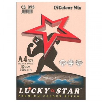 Lucky Star A4 Premium Color Paper, 15 Colors Mix - 80gsm, 450sheets